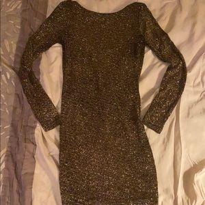 Sparkly, fun gold mini dress